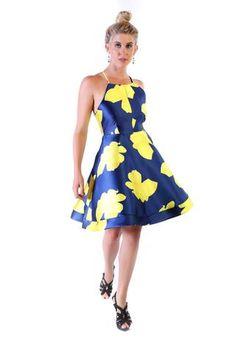 Vestido deeep blue floreado amarillo