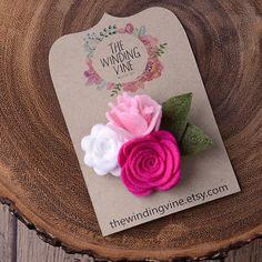 Pink/White Felt Flower Hair Clip, Flower Cluster Barrette, Felt Hair Accessory for baby, toddler, child, teen, or adult