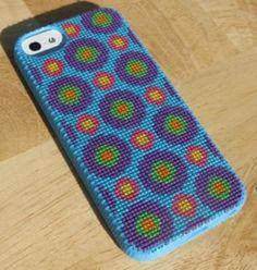 Bullzeye Blue iPhone 5 Case Cross Stitch Kit. $35.00, via Etsy.
