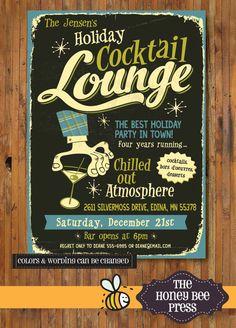 Retro vacaciones invitación fiesta - fiesta de Navidad, casa abierta, partido feo suéter - artículo C00017