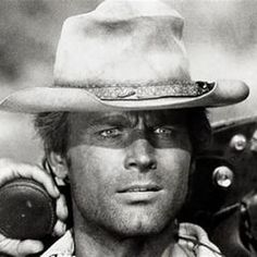 Terence Hill is a legendary Italian actor (born as Mario Girotti), who became famous for playing in Italian western movies. Western Film, Western Movies, My Name Is Nobody, I Movie, Movie Stars, Bud Spencer, Terence Hill, Henry Fonda, Tv Westerns