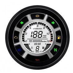 Le compteur de vitesse C2M équipé d'un compte tours digital est idéal pour un installation sur une moto, un quad ou un scooter.