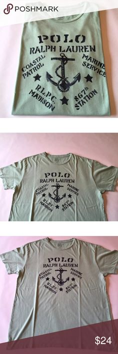 Polo Ralph Lauren T Shirt Spell Out RLPC Men's L Excellent condition, gently used with hardly any signs of use, if any! Men's L. It is a seafoam green color with blue print. Shipping same or next day! Polo by Ralph Lauren Shirts Tees - Short Sleeve