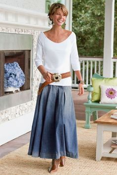Pleated Denim Skirt Ii - Denim Maxi Skirt, Long A-line Denim Skirt | Soft Surroundings