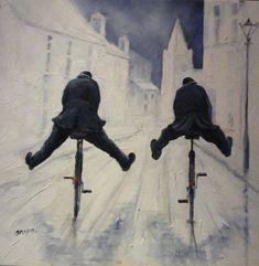 The Great British Bobby! Cycling Art, Illustrations, Winter Scenes, Girl Humor, Fabric Painting, Figurative Art, Impressionism, Unique Art, Creative Art