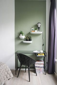 Popular Bedroom Paint Colors that Give You Positive Vibes, Home Decor, Histor-parallel-muurverf-mat. Home Office Design, House Design, Interior Design Boards, Interior Wall Colors, Bedroom Paint Colors, Home Decor Trends, New Room, Colorful Interiors, Bedroom Decor