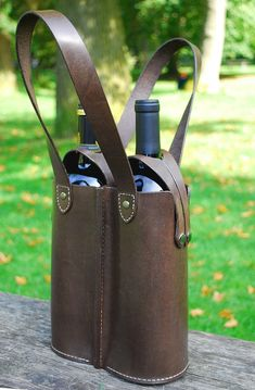 Leather double wine bottle tote.  Etsy sale item (sold).