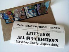 Superhero Birthday Invitation by stampandseal on Etsy https://www.etsy.com/listing/108900919/superhero-birthday-invitation