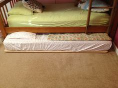 DIY Trundle Bed (using plastic sliders rather than wheels)                                                                                                                                                                                 More