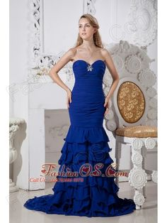 Beautiful Blue Mermaid Ruffled Prom Dress Sweetheart Brush Train Chiffon Beading  http://www.fashionos.com  : zipper up back prom dress | 2013 popular prom dress for formal evening | cheap prom dress under 150 | beaded floor length prom dress | high end low price | online store sell prom dress | where you can order prom dress | sweetheart strapless prom dress | sweetheart beaded prom dress | beaded chiffon floor length prom dress |