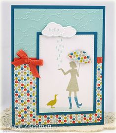 Stampin' Up! Million-Dollar Moments. Like the layout, rain cloud, and the paper-piecing of the umbrella.