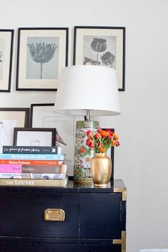 books and lamp via the glitter guide