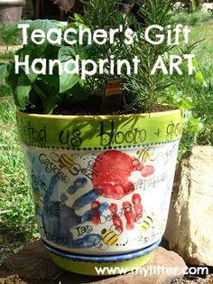 Teachers Gift Idea - Herb Garden Kids Handprint Art