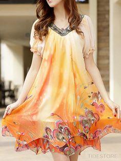 16864a53b8 Chic Floral Imprint Short Sleeve Short Day Dress