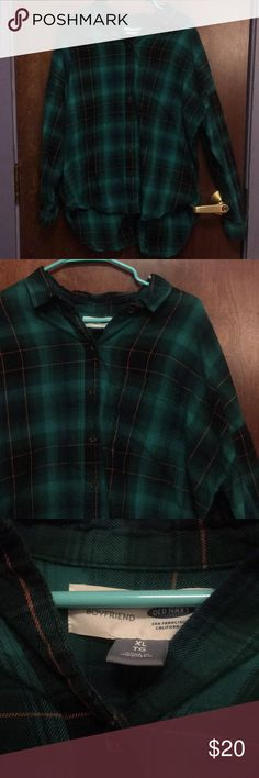 "Old Navy flannel Old Navy ""Boyfriend"" flannel, size XL. In green, orange, and black. Old Navy Tops Button Down Shirts"