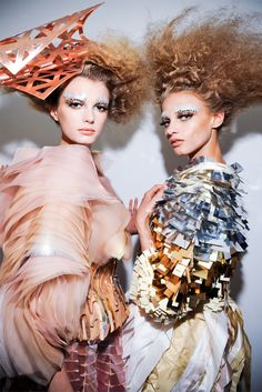 Sigrid Agren and Anna Selezneva backstage at Christian Dior Haute Couture F/W 2011-2012.