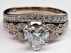Vintage Rose Gold Diamond Butterfly Vintage Engagement Ring Matching Wedding Band I love it! Heart Shaped Engagement Rings, Rose Gold Engagement Ring, Engagement Ring Settings, Oval Engagement, Wedding Engagement, Vintage Rose Gold, Wedding Rings Vintage, Vintage Engagement Rings, Gold Wedding