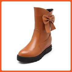 Women's Low-Top Solid Pull-On Round Closed Toe Kitten-Heels Boots Orange 8 B(M) US