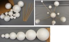 Make Your Own Solar System Model ~ 14 Mixed Sized Polystyrene Spheres / Balls 2cm to 7cm Diameter & 20cm Long Wooden Rods School Projects: Amazon.co.uk: Toys & Games