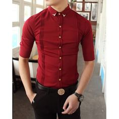 Casual Style Shirt Collar Solid Color Pleated Design Half Sleeves Polyester Shirt For Men, RED, L in Shirts | DressLily.com