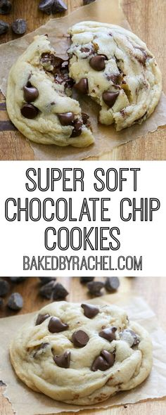 Super soft chocolate chip cookies that stay soft! Recipe from Rachel {Baked by Rachel}