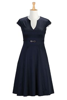 LOVE the belt on this one! I <3 this Nautical cotton sateen dress from eShakti