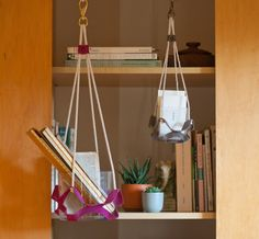 Tucking a few potted succulents into a bookshelf adds a delightful twist!