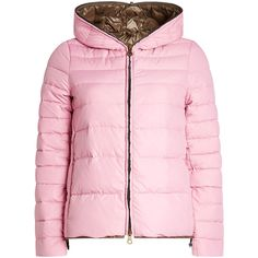 Duvetica Down Jacket (59545 ALL) ❤ liked on Polyvore featuring outerwear, jackets, pink, quilted down jackets, hooded jacket, shiny jacket, pink jacket and shiny down jacket