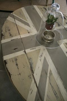 Country Gray, Old White, French Linen Chalk Paint Union Jack Coffee Table