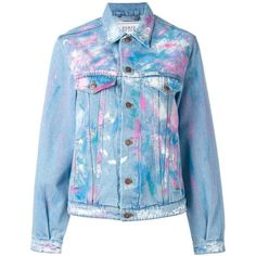 Forte Couture painted denim jacket (1.555 RON) ❤ liked on Polyvore featuring outerwear, jackets, blue, jean jacket, blue jean jacket, denim jacket, blue jackets and blue denim jacket
