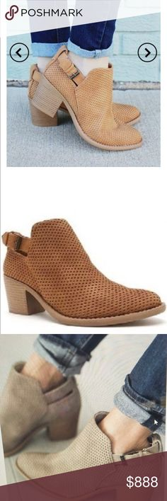 Tan Perforated Bootie Tan Perforated Bootie - this bootie goes well with everything.  You can wear these with any summer or fall outfit.  They are stylish and comfortable!! Love, love .  Please  note the color is tan which is closer to the two first pics.  The last picture is a different color (taupe). Boutique Shoes Ankle Boots & Booties