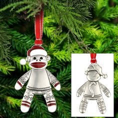 Happy Sock Monkey Ornament at The Rainforest Site