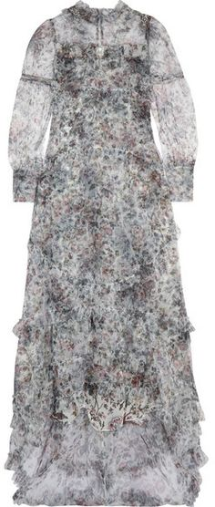 Erdem - Stacey Ruffled Floral-print Tulle Gown - Gray