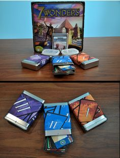 Use blank tin boxes to store cards in card games, like the different cards from 7 Wonders. I bought my blank tins at a speech therapy website called superduperinc.com. I then decorated the tins with photos of the game I found online and printed on sticky label paper.