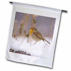 3dRose Robin adult bird on fence with snow, Switzerland - NA02 RNU0127 - Rolf Nussbaumer, Garden Flag, 12 by 18-Inch
