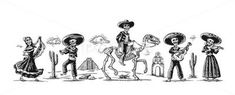 Day of the Dead, Dia de los Muertos. The skeleton in the Mexican national Stock Illustration , Mexican Skull Tattoos, Mexican Skulls, Skull Illustration, Day Of The Dead, Tattoo Images, Royalty Free Photos, Horror, Stock Photos, Costumes