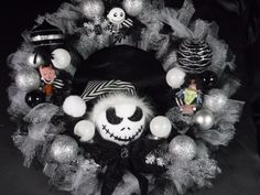 Nightmare Before Christmas Inspired Wreath by GrimmsleyManor on Etsy https://www.etsy.com/listing/453175168/nightmare-before-christmas-inspired