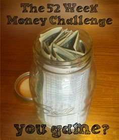 What an easy way to save money. 52 week money challenge- after the 52 weeks you will have $1,378.00!