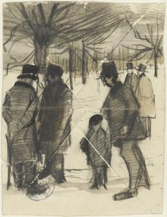 Vincent van Gogh (1853-1890) Five men and a child in the snow. To Theo from The Hague, March 1883