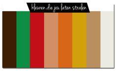 Ben je een herfsttype? Dan zal je er prachtig uitzien in beige, koffiebruin, khaki, terra cotta, oranje, mosgroen en mosterd. Laat je ogen knallen met koper, roestbruin, mokka, goud, olijfgroen of khaki kleuren. Op zoek naar een mooie lipstick? Kies dan voor oranjerood, steenrood, bruinrood of een abrikooskleur. Sieraden in brons of goud staan je geweldig.