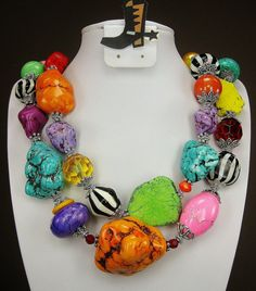 """""""Carnival Rodeo Ride"""" Multicolor Chunky Western Cowgirl Necklace by www.CayaCowgirlCreations.etsy.com - $52.50"""