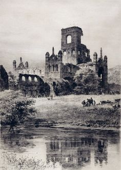 Detail of Kirkstall Abbey from the South-East, 1899 by Axel Haig Beeston Leeds, Leeds City, Leeds Art Gallery, Welcome To Yorkshire, Dissolution Of The Monasteries, Gate House, West Yorkshire, Vintage Prints, North West
