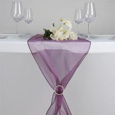 Eggplant Organza Table Runner | eFavorMart