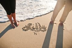 Baby Maternity Belly Photo with Baby Name in the Sand at Sunset on the Beach  www.rachelmcfarlinphotography.com