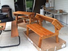 PICNIC TABLE THAT CONVERTS TO BENCHES ~ Cedar Finish...