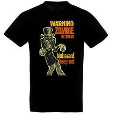 Warning! Zombie Outbreak fekete póló Polo, Halloween, Mens Tops, T Shirt, Supreme T Shirt, Tee Shirt, Polo Shirt, Halloween Stuff, Polo Shirts