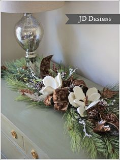 Christmas Cedar and Pine Cone Decorated 60 by JenniferDecorates, $165.00