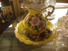 Beautiful Pitcher and Bowl by HitOrMissTreasures on Etsy, $85.00 (omg, gorgeous)