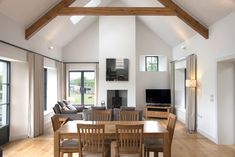 Family Living Space with Vaulted ceiling Bungalow Kitchen, House Designs Ireland, Vaulted Ceiling Living Room, Modern Bungalow, Kitchen Remodeling Projects, House Interior, Contemporary House, Passive House Design, Bungalow Design