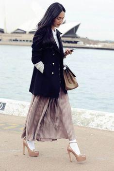 Get a Preppy-Chic Statement This Fall with Nicole Warne – Glam Radar Fashion Tag, Fashion Socks, Only Fashion, Fashion Styles, Fashion Trends, Gary Pepper Girl, Nicole Warne, Socks And Sandals, Urban Looks